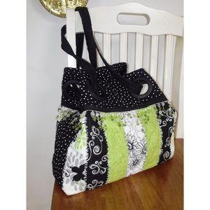 Handbags - Multiple Pattern Beaded Trim Cotton Shoulder Bag